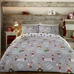 Elfie Christmas Duvet Cover Set - Grey