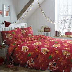 Christmas Gingerbread Duvet Cover Set - Red