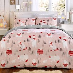 Polar Bear Christmas Duvet Cover Set - Pink