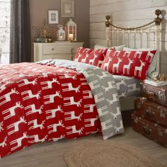 Christmas Reindeer 100% Brushed Cotton Duvet Cover Set - Red Grey