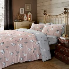 Fluffy Penguins Christmas 100% Brushed Cotton Duvet Cover Set - Blush Pink