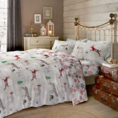 Garland Reindeer Christmas 100% Brushed Cotton Duvet Cover Set - Multi