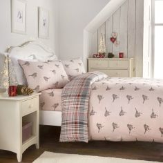 Christmas Robin 100% Brushed Cotton Duvet Cover Set - Pink