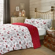 Scandi Christmas Robin 100% Brushed Cotton Duvet Cover Set - Red