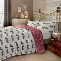 Scottie Dog Tartan Check 100% Brushed Cotton Duvet Cover Set - Multi