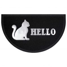 Hello Cat Half Moon Door Mat - Black