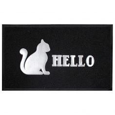 Hello Cat Rectangular PVC Door Mat - Black & Grey