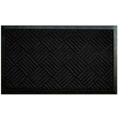 Carreaux Rectangular PVC Door Mat - Black