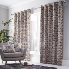 Chicago Geometric Fully Lined Eyelet Curtains - Multi