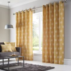 Silhouette Floral Fully Lined Eyelet Curtains - Ochre Yellow