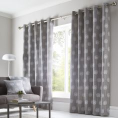 Silhouette Floral Fully Lined Eyelet Curtains - Grey