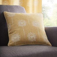 Silhouette Floral Cushion Cover - Ochre Yellow