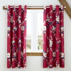 Catherine Lansfield Canterbury Floral Fully Lined Eyelet Curtains - Plum Purple