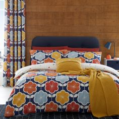 Catherine Lansfield Retro Floral Duvet Cover Set - Navy Blue