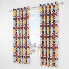 Catherine Lansfield Retro Floral Eyelet Curtains - Navy Blue