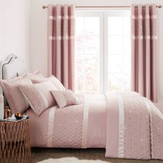 Catherine Lansfield Sequin Cluster Duvet Cover Set - Blush Pink