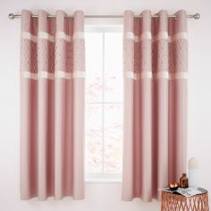 Catherine Lansfield Sequin Cluster Eyelet Curtains - Blush Pink
