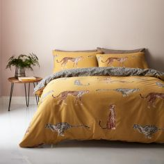 Catherine Lansfield Cheetah Duvet Cover Set - Ochre Yellow