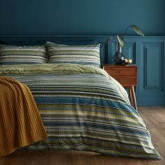 Catherine Lansfield Ravenna Stripe Duvet Cover Set - Green