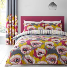 Catherine Lansfield Modernist Poppy Duvet Cover Set - Grey