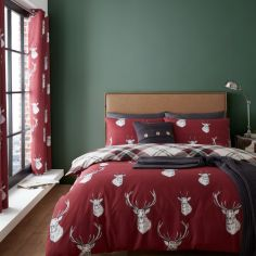 Catherine Lansfield Munro Stag Check Duvet Cover Set - Red