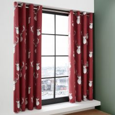 Catherine Lansfield Munro Stag Check Eyelet Curtains - Red