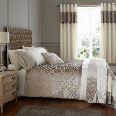 Catherine Lansfield Lattice Cut Velvet Duvet Cover Set - Natural