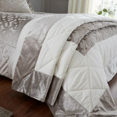 Catherine Lansfield Lattice Cut Velvet Bedspread - Natural