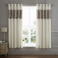 Catherine Lansfield Lattice Cut Velvet Eyelet Curtains - Natural
