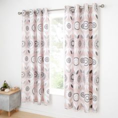 Catherine Lansfield Annika Floral Eyelet Curtains - Pink