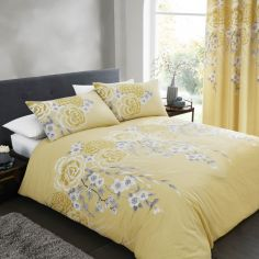 Catherine Lansfield Oriental Blossom Duvet Cover Set - Ochre Yellow