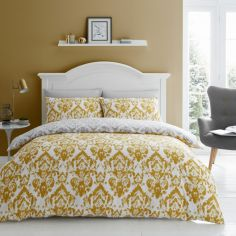 Catherine Lansfield Damask Duvet Cover Set - Ochre Yellow