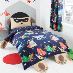 Catherine Lansfield Kids Super Dogs Duvet Cover Set - Navy Blue
