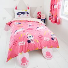 Catherine Lansfield Kids Super Bunny Duvet Cover Set - Pink