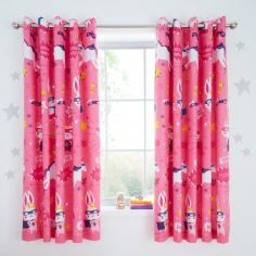 Catherine Lansfield Kids Super Bunny Eyelet Curtains - Pink