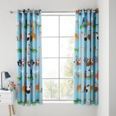 Catherine Lansfield Kids Animal Adventures Eyelet Curtains - Blue