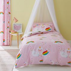 Catherine Lansfield Kids Rainbow Swan Duvet Cover Set - Pink