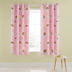 Catherine Lansfield Kids Rainbow Swan Eyelet Curtains - Pink