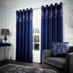 Catherine Lansfield Glitzy Sequin Eyelet Curtains - Navy Blue
