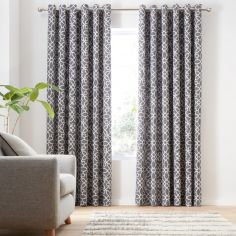 Catherine Lansfield Lattice Cut Velvet Eyelet Curtains - Charcoal Grey