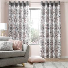 Catherine Lansfield Annika Floral Plain Top Eyelet Curtains - Blush Pink Grey