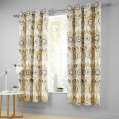 Catherine Lansfield Annika Floral Eyelet Curtains - Ochre Yellow