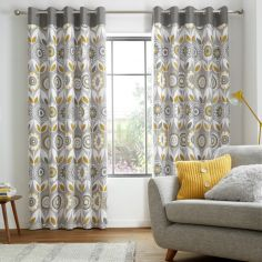 Catherine Lansfield Annika Floral Plain Top Eyelet Curtains - Ochre Yellow Grey