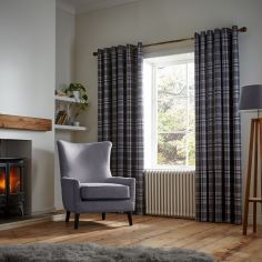 Catherine Lansfield Thermal Woven Check Eyelet Curtains - Charcoal Grey