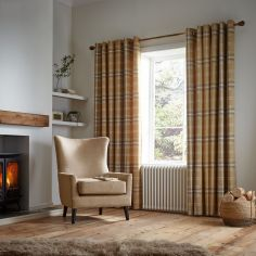 Catherine Lansfield Thermal Woven Check Eyelet Curtains - Ochre Yellow