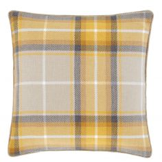 Catherine Lansfield Brushed Heritage Check Cushion Cover - Ochre Yellow