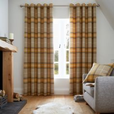 Catherine Lansfield Brushed Heritage Check Eyelet Curtains - Ochre Yellow