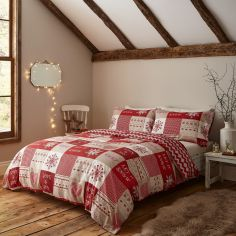 Catherine Lansfield Christmas Let It Snow Duvet Cover Set - Red