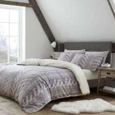 Catherine Lansfield Cable Knit Fleece Duvet Cover Set - Natural