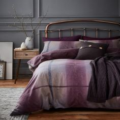 Catherine Lansfield Berwick Tweed Brushed Cotton Duvet Cover Set - Plum Purple